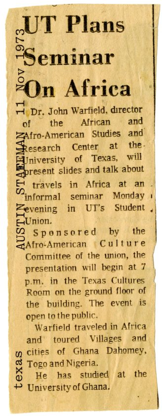 Seminar on Africa featured in Austin-American Statesman (1973)